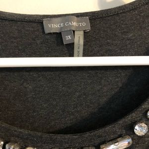 Vince Camuto Tops - Blouse gray with black sheer sleeves